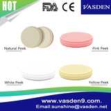 Open System CADCAM Natural, White, Yellow, Pink Colored Peek for Dental Disc
